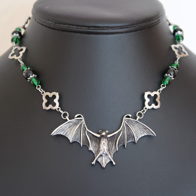 Bat Necklace & Earrings Set (Black Onyx, Green Glass)